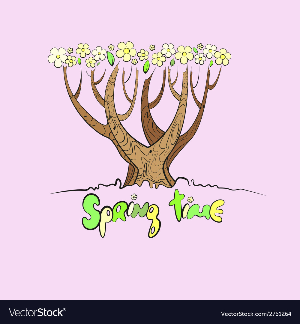 Stylized spring tree vector | Price: 1 Credit (USD $1)