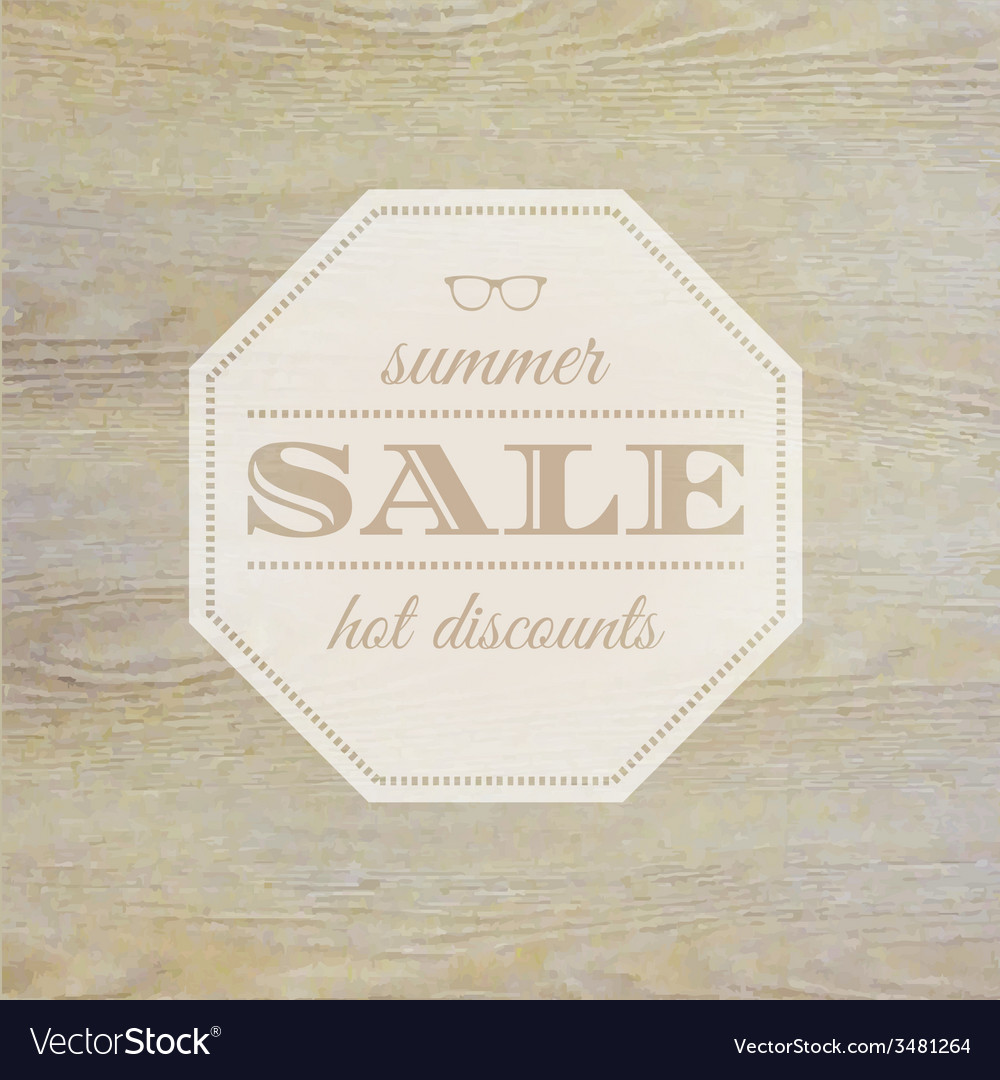 Summer sale label with wooden background vector | Price: 1 Credit (USD $1)