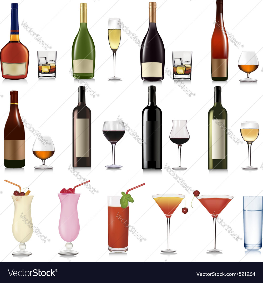 Super group of drinks and cocktails vector | Price: 3 Credit (USD $3)