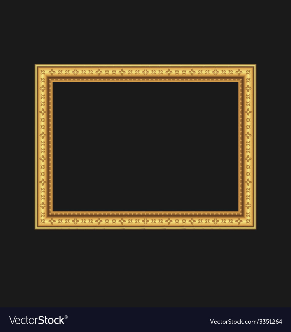 Vintage picture frame isolated on black background vector | Price: 1 Credit (USD $1)