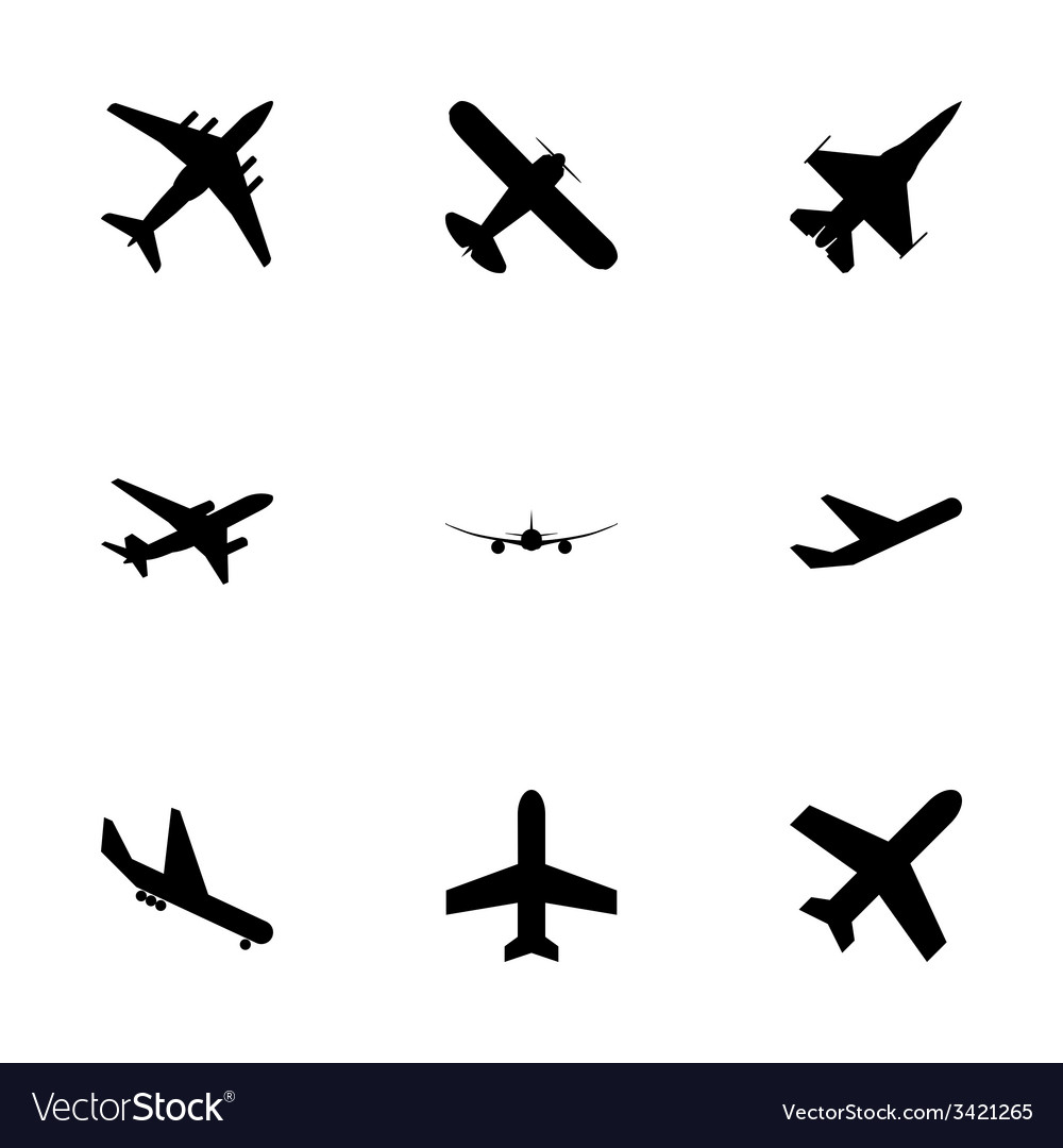 Black airplane icon set vector | Price: 1 Credit (USD $1)