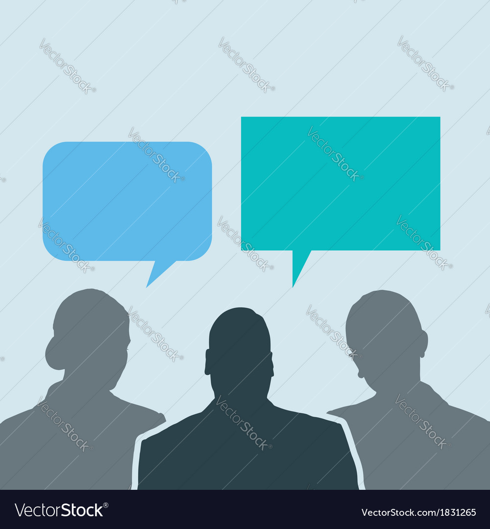 Business people share social network talk bubbles vector | Price: 1 Credit (USD $1)