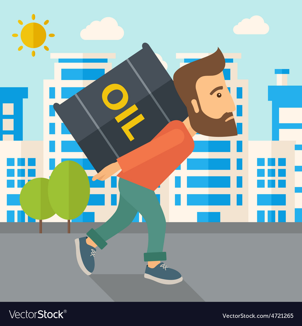 Businessman carrying barrel of oil vector | Price: 1 Credit (USD $1)