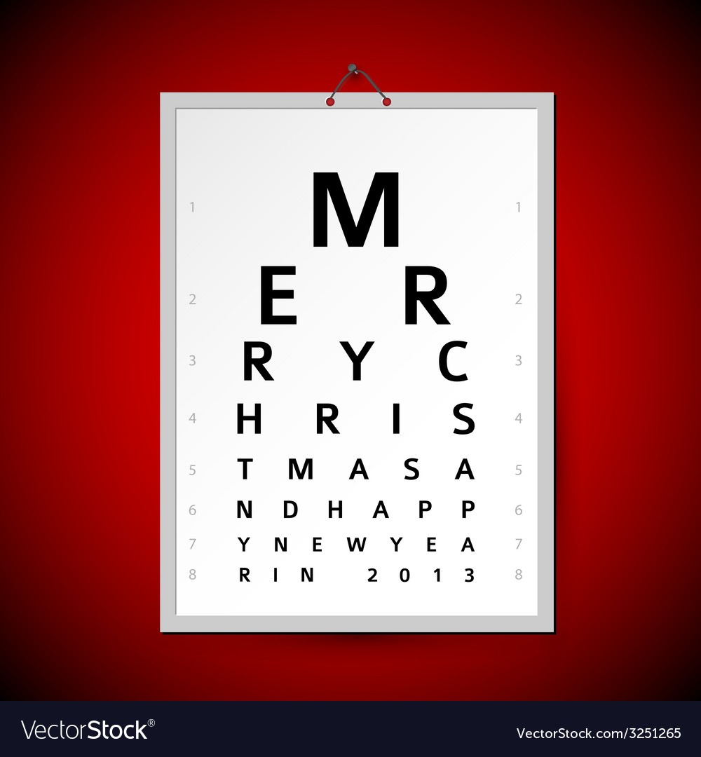 Christmas eye test chart as xmas card vector | Price: 1 Credit (USD $1)
