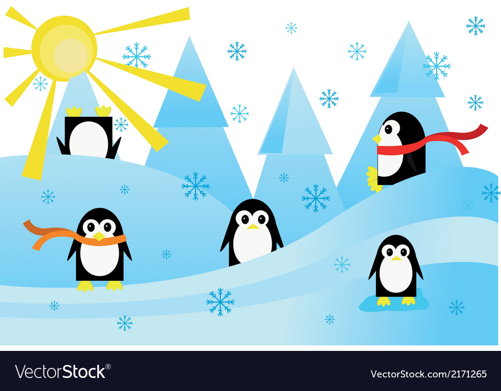 Colorful with funny penguins in snow vector | Price: 1 Credit (USD $1)