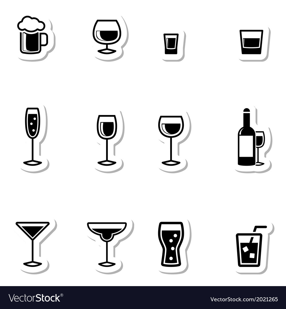 Drink icons as labels vector | Price: 1 Credit (USD $1)