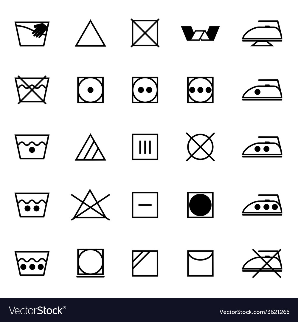 Fabric care sign and symbol icons on white vector | Price: 1 Credit (USD $1)