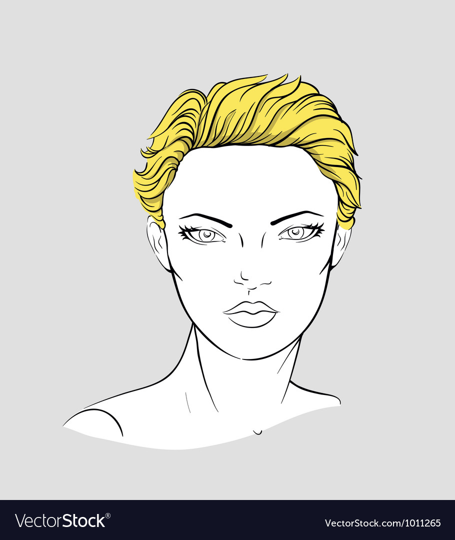 Face of blonde woman with short haircut vector | Price: 3 Credit (USD $3)