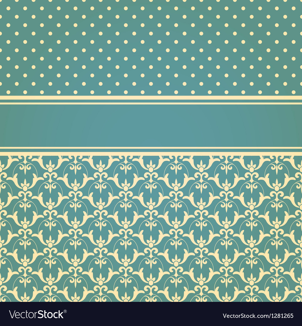 Invitation card with seamless floral wallpaper pat vector | Price: 1 Credit (USD $1)