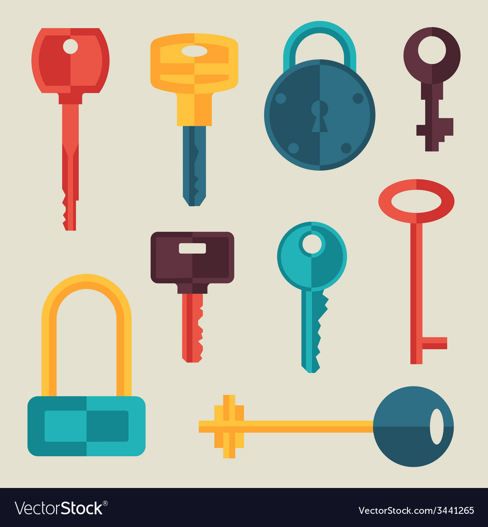 Locks and keys icons set in flat style vector | Price: 1 Credit (USD $1)