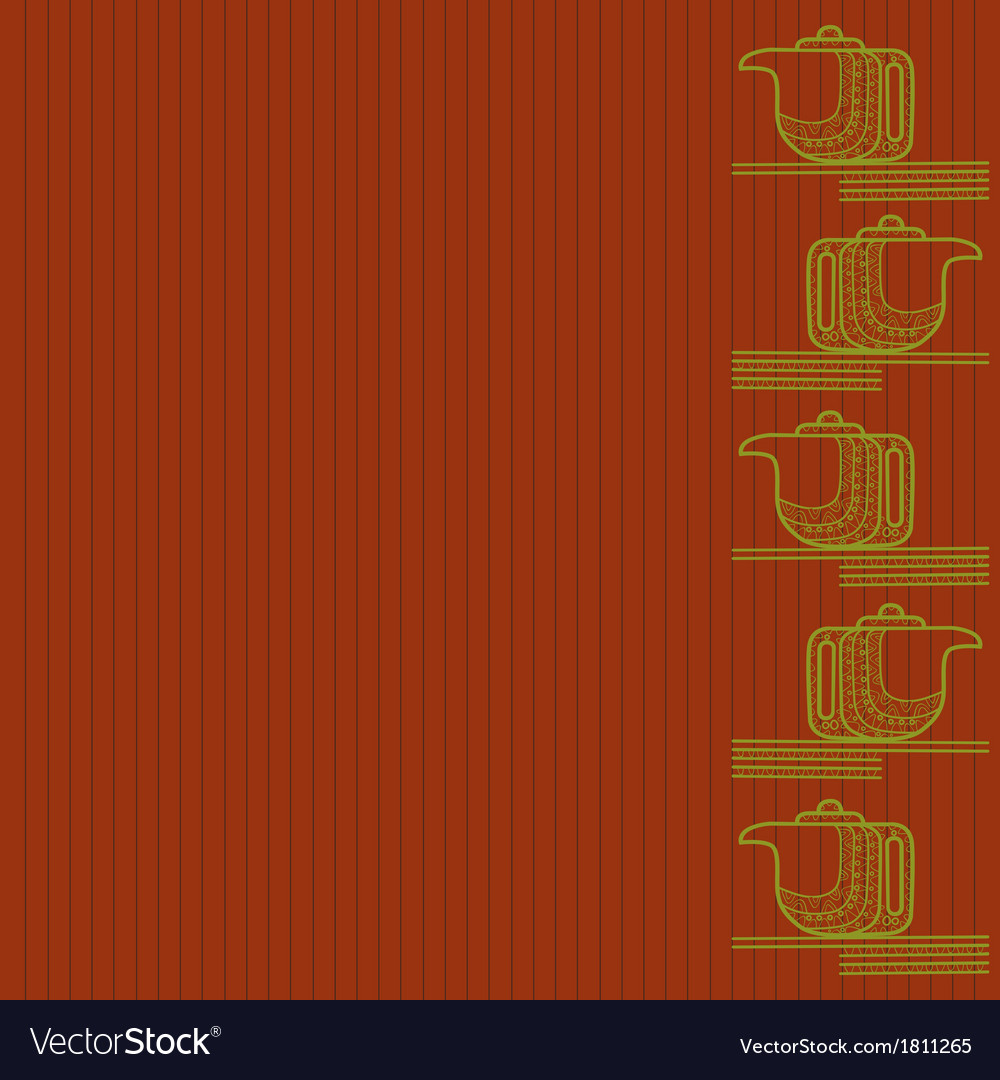 Pattern of silhouette of teapot on an orange backg vector | Price: 1 Credit (USD $1)
