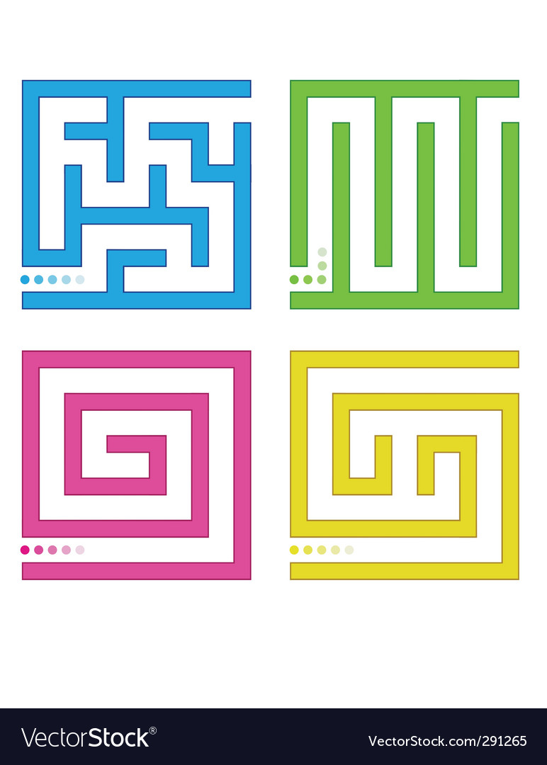 Set of small colored mazes vector | Price: 1 Credit (USD $1)