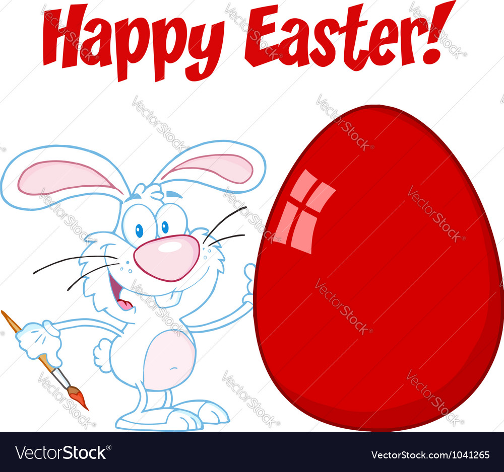 White happy easter bunny painting a red egg vector | Price: 1 Credit (USD $1)