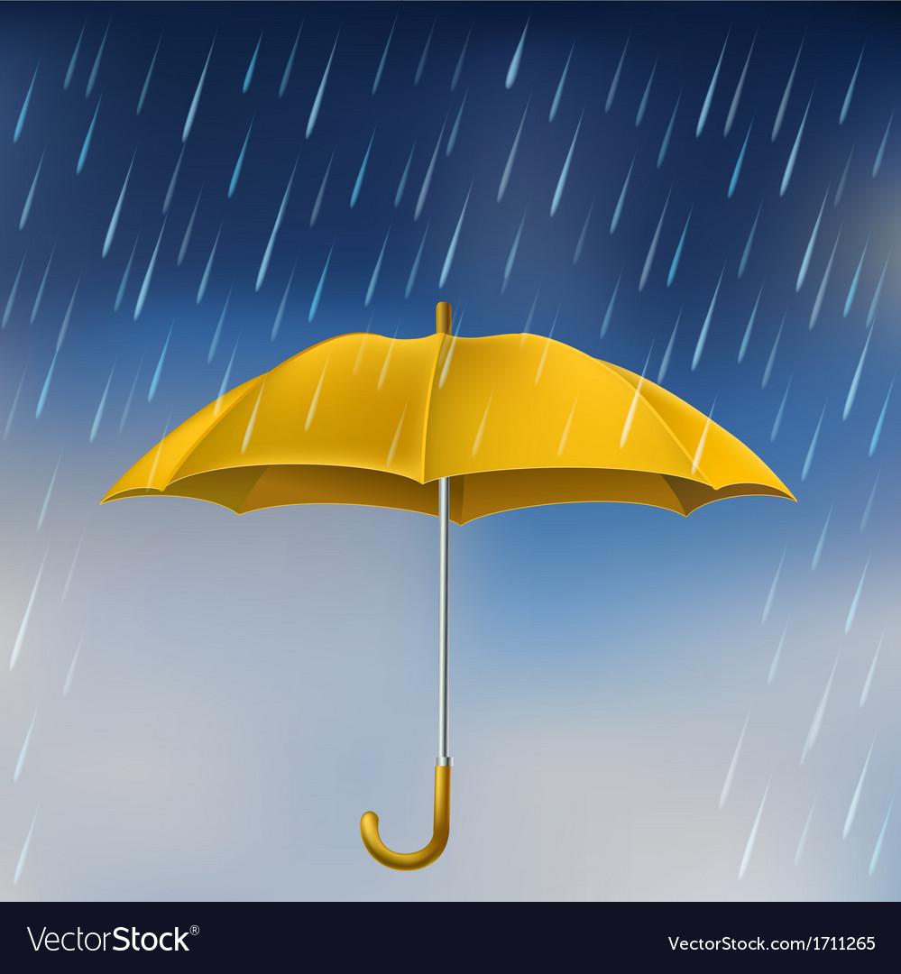 Yellow umbrella in rain vector   Price: 1 Credit (USD $1)