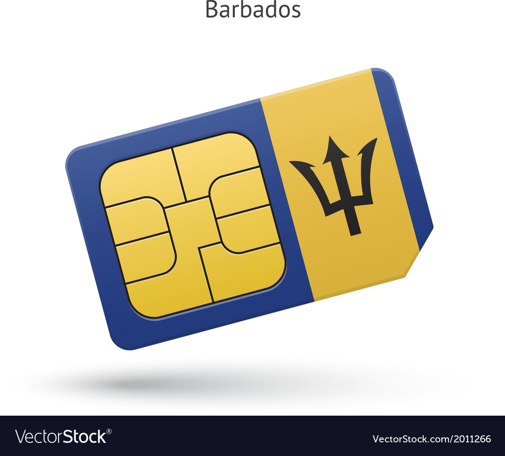 Barbados mobile phone sim card with flag vector | Price: 1 Credit (USD $1)