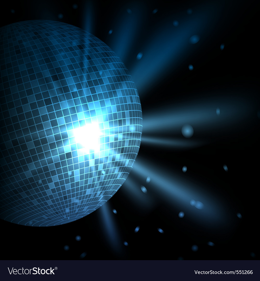 Blue background with disco ball vector | Price: 1 Credit (USD $1)