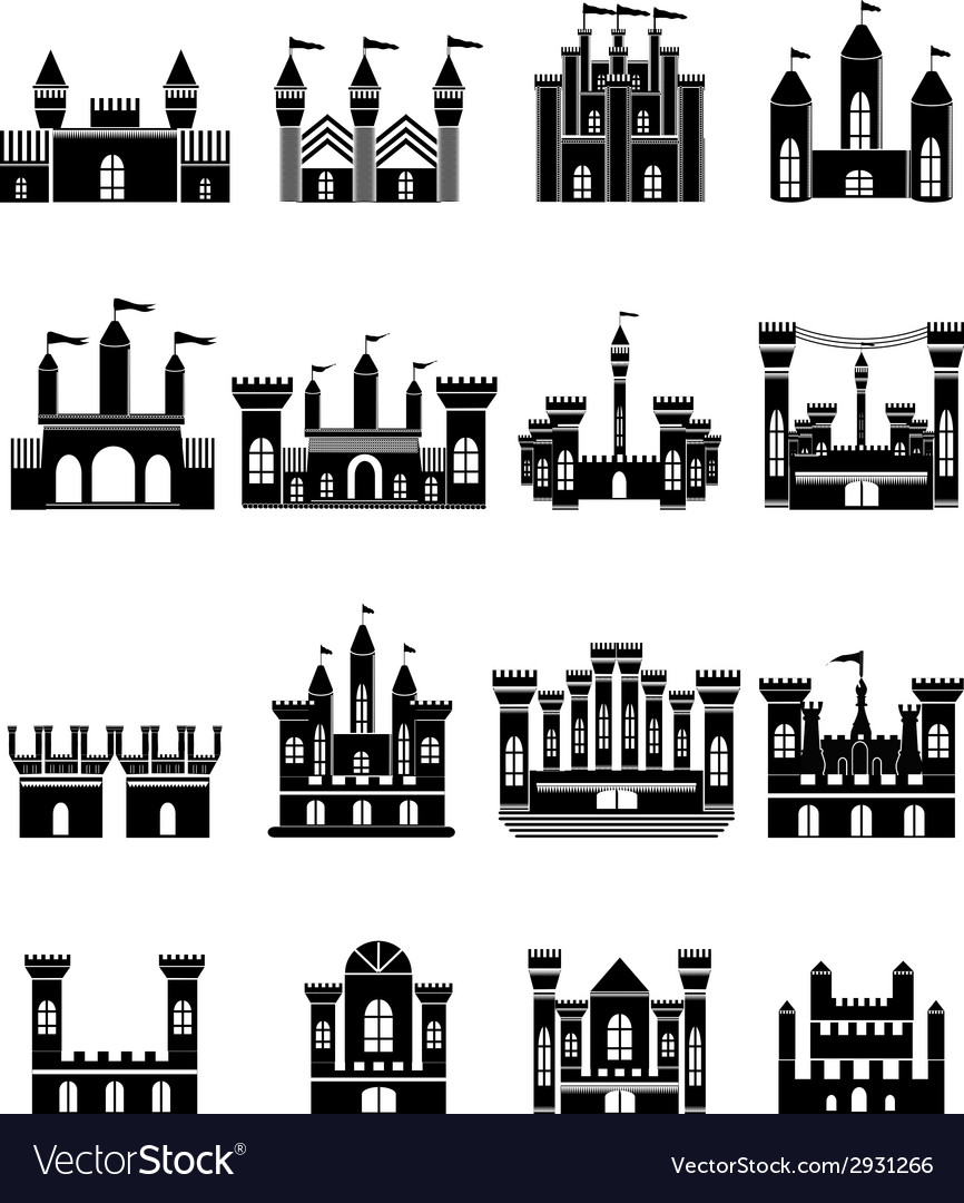 Castle icons set vector | Price: 1 Credit (USD $1)