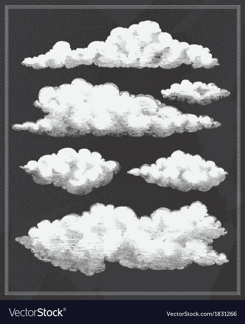 Chalkboard vintage clouds background vector | Price: 1 Credit (USD $1)