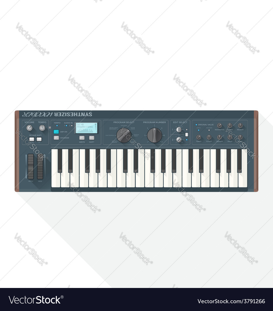 Color flat style piano roll synthesizer vocoder vector | Price: 1 Credit (USD $1)