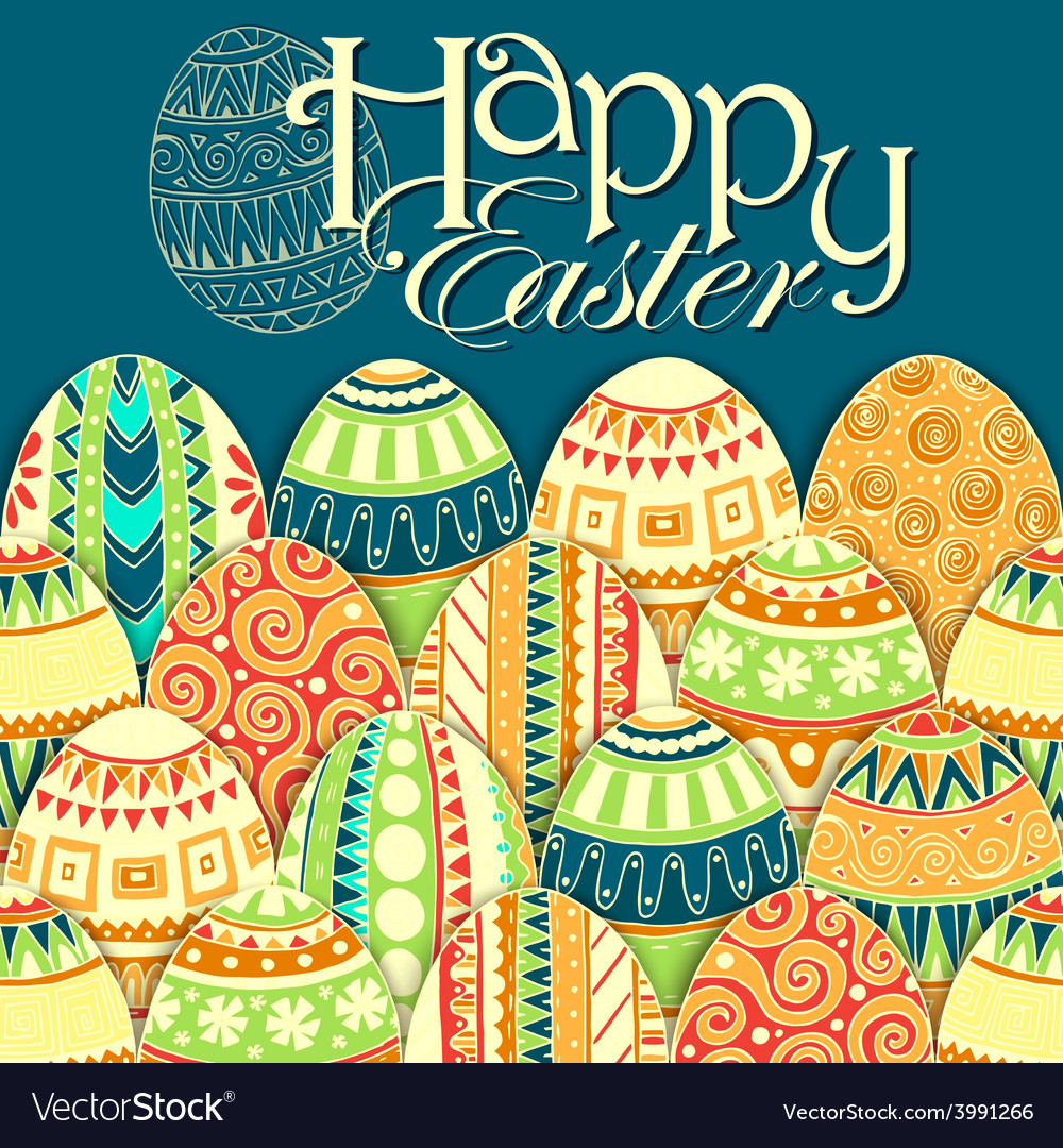 Easter background with colorful doodle eggs vector | Price: 1 Credit (USD $1)