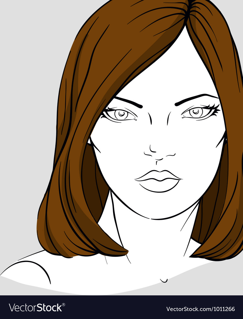 Face of woman with medium long hair vector | Price: 3 Credit (USD $3)