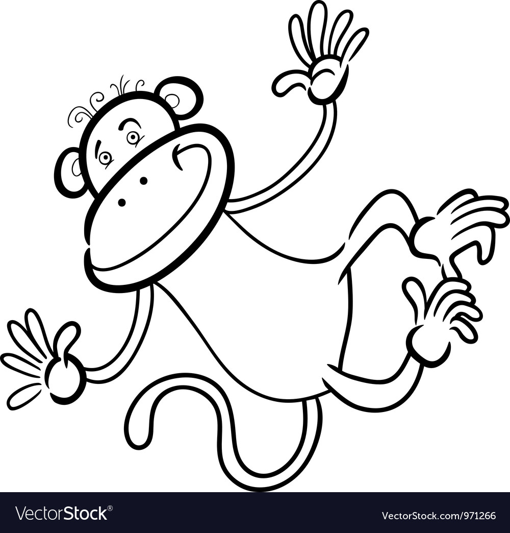 Funny monkey for coloring book vector | Price: 3 Credit (USD $3)