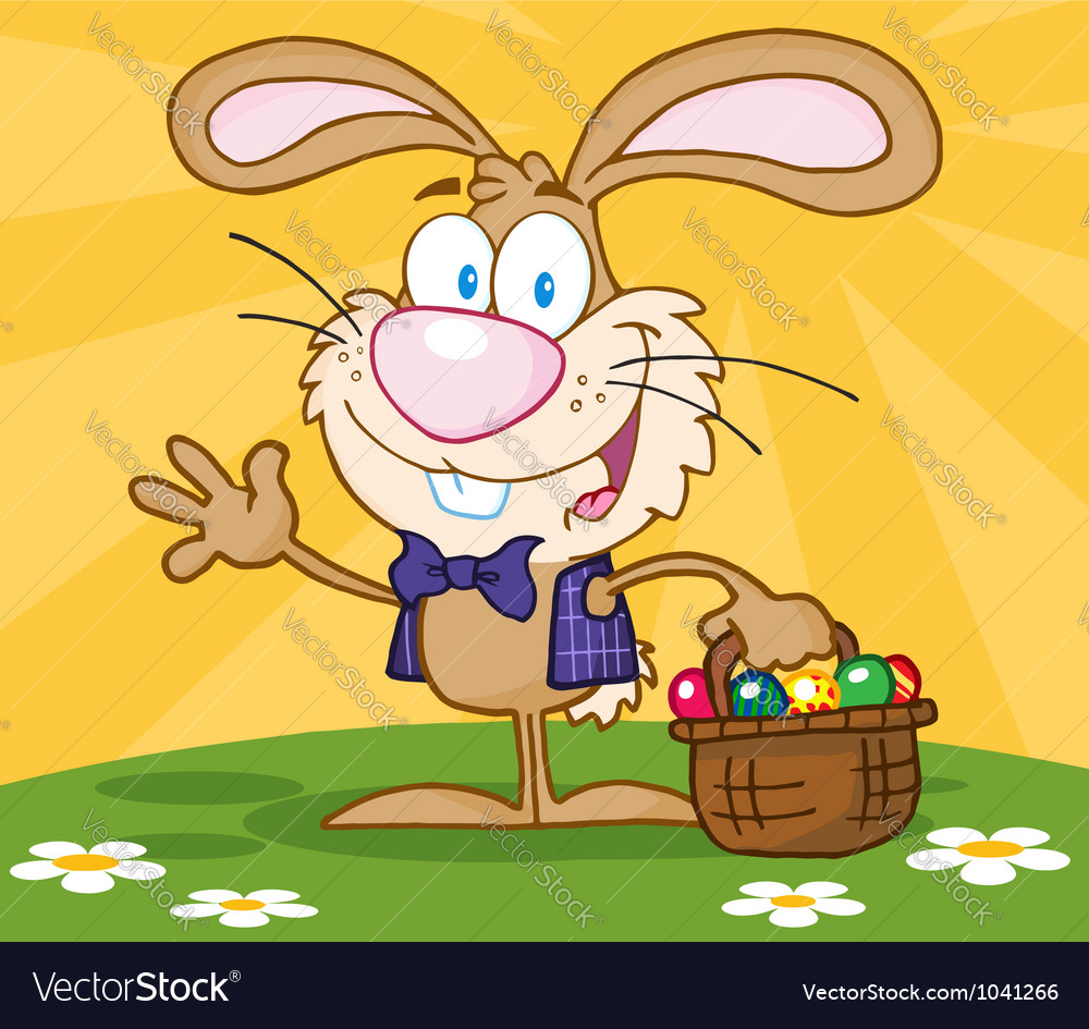 Happy easter bunny carrying a basket of eggs vector | Price: 1 Credit (USD $1)