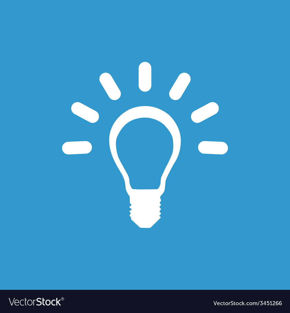 Idea icon white on the blue background vector   Price: 1 Credit (USD $1)