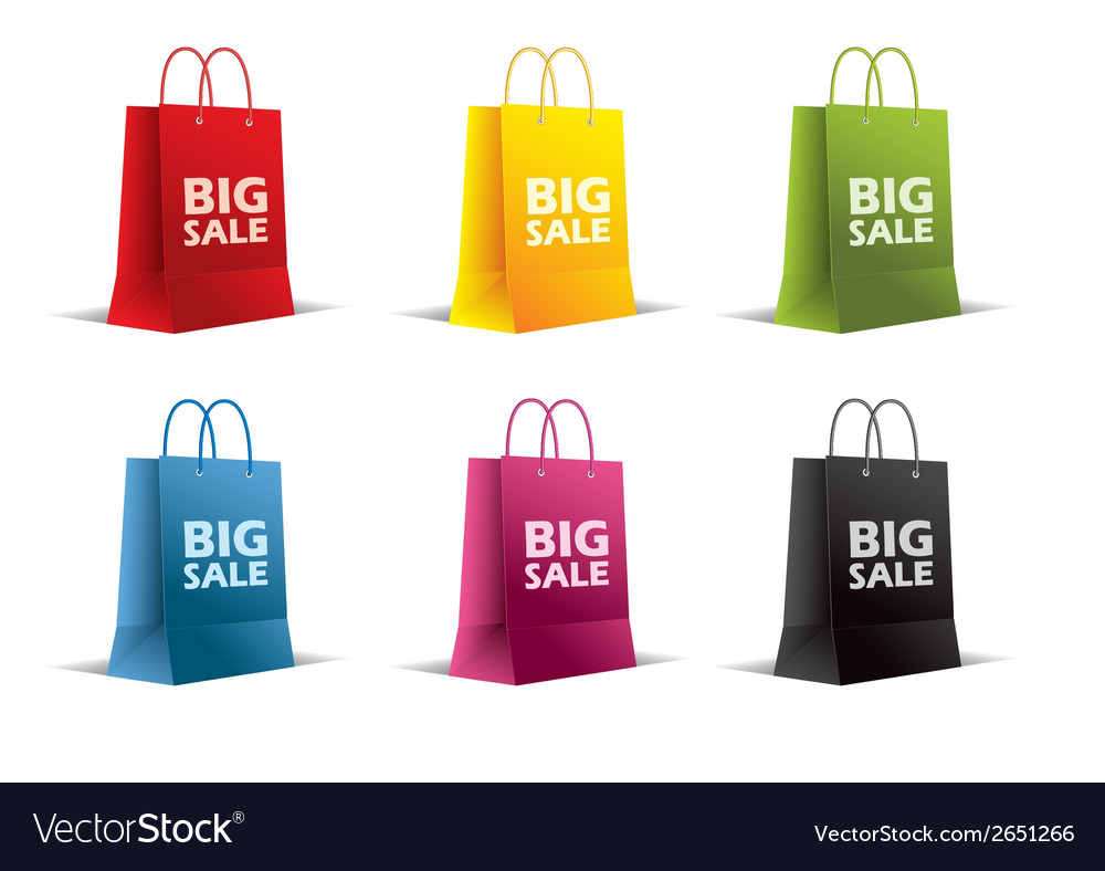Paper bags on white  isolated colored vector   Price: 1 Credit (USD $1)