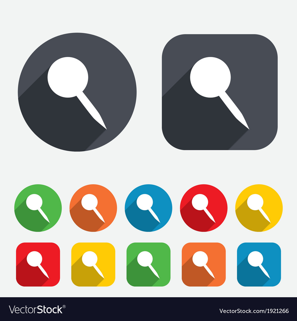 Pushpin sign icon pin button vector | Price: 1 Credit (USD $1)