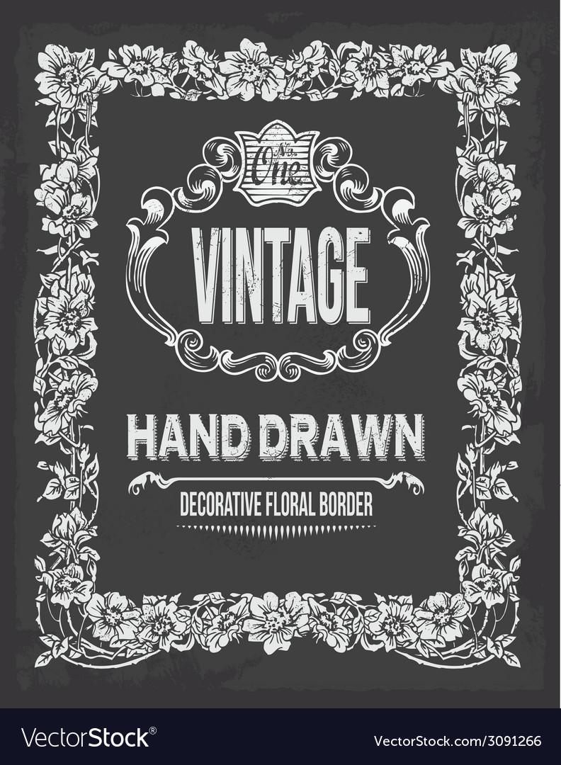 Retro vintage chalkboard floral border vector | Price: 1 Credit (USD $1)