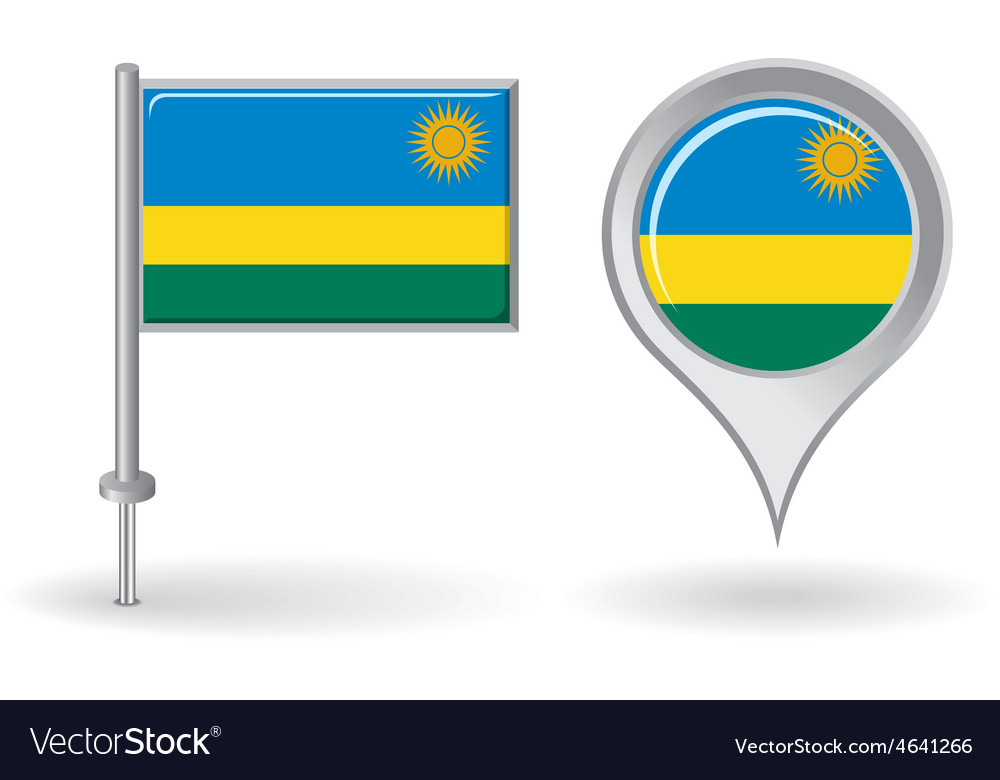 Rwanda pin icon and map pointer flag vector | Price: 1 Credit (USD $1)