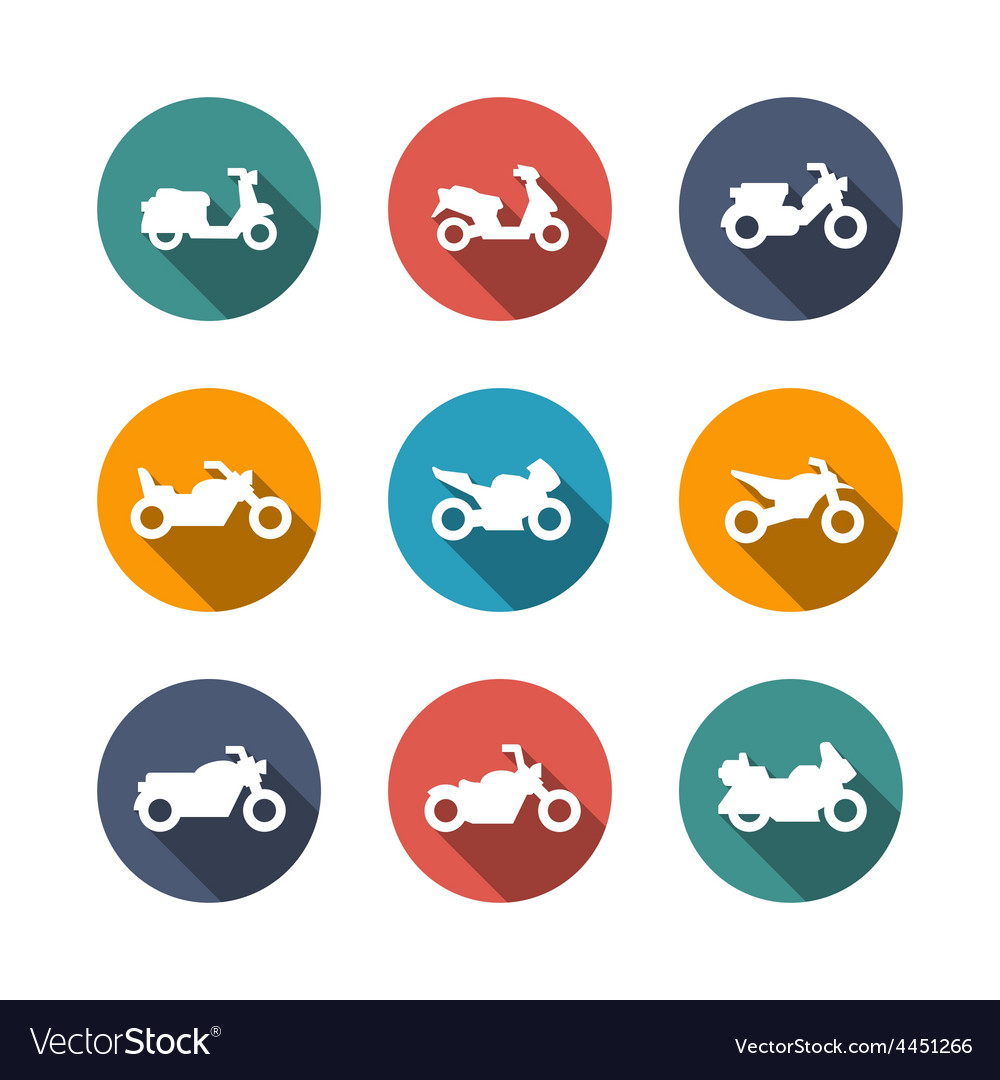Set flat icons of motorcycles vector   Price: 1 Credit (USD $1)