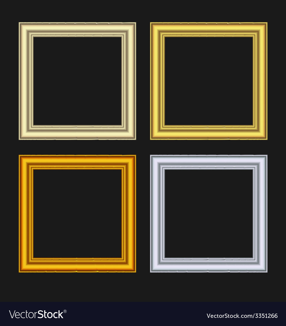 Set picture frames isolated on black background - vector | Price: 1 Credit (USD $1)