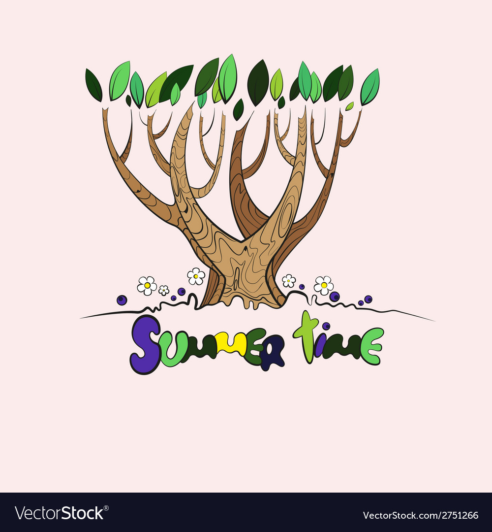 Stylized summer tree vector | Price: 1 Credit (USD $1)
