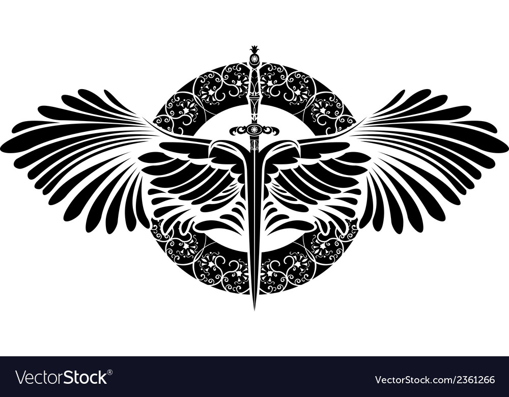 Sword with wings on patterned circle vector | Price: 1 Credit (USD $1)