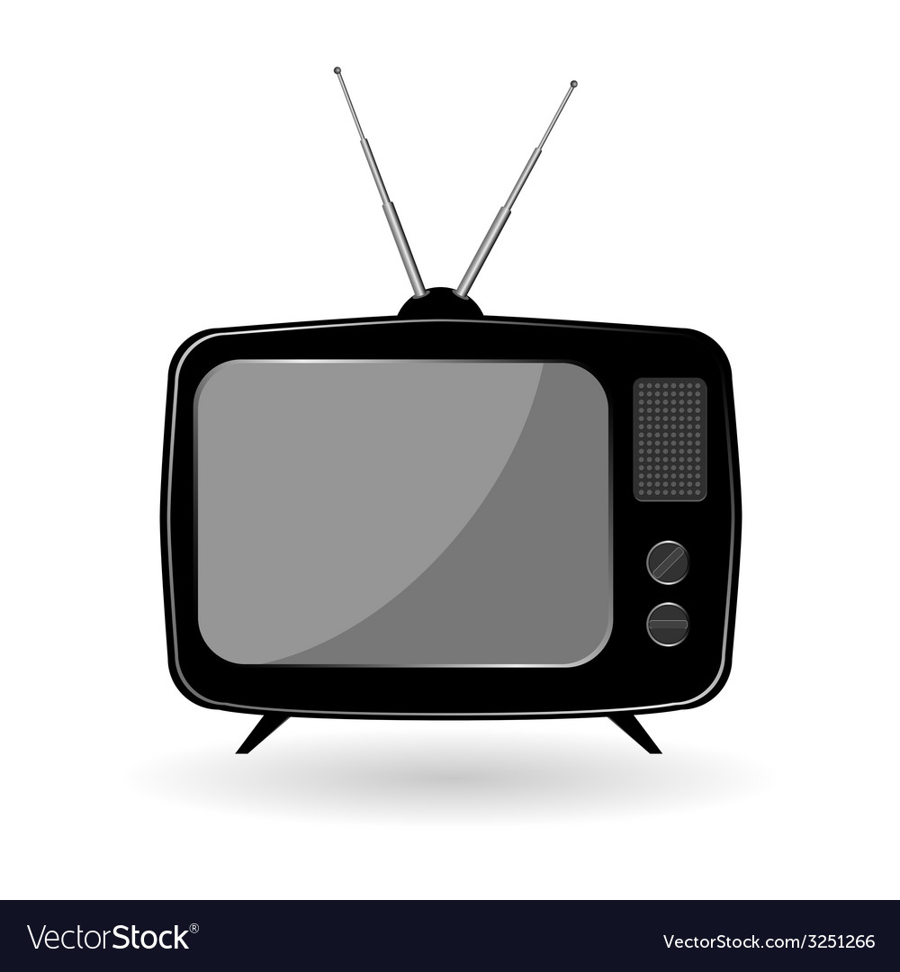 Tv old in black color vector | Price: 1 Credit (USD $1)