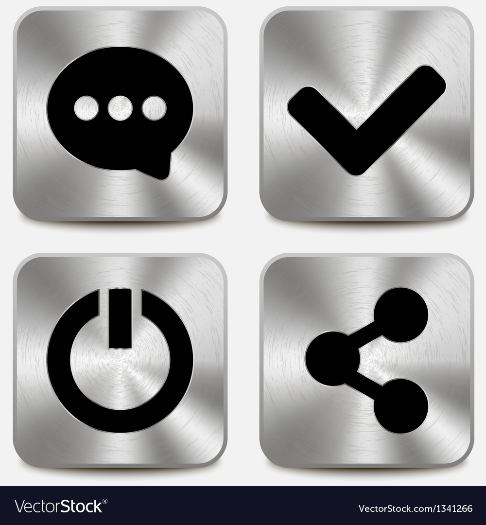 Web icons on metallic buttons set vol 6 vector | Price: 1 Credit (USD $1)