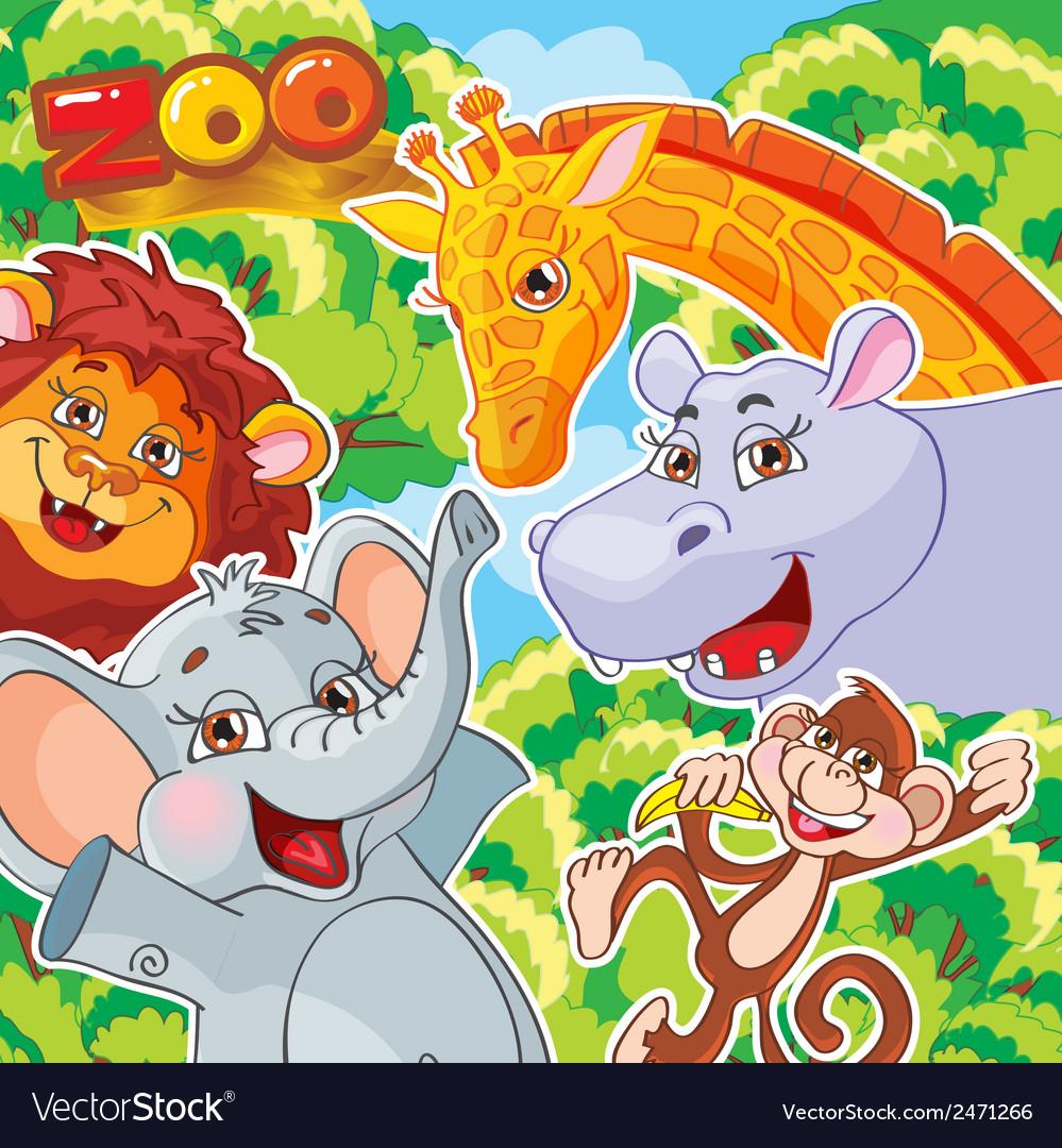 Zoo joyful animals vector | Price: 1 Credit (USD $1)