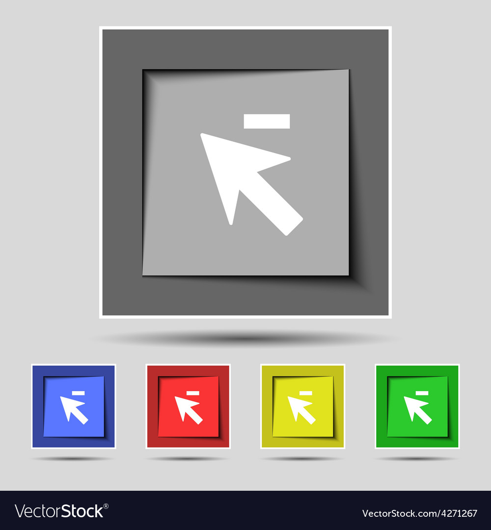 Cursor arrow minus icon sign on the original five vector | Price: 1 Credit (USD $1)