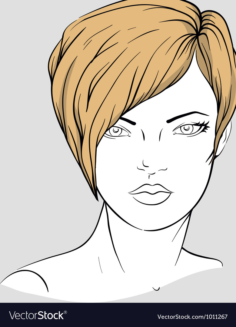 Face of a woman with short hair vector | Price: 3 Credit (USD $3)