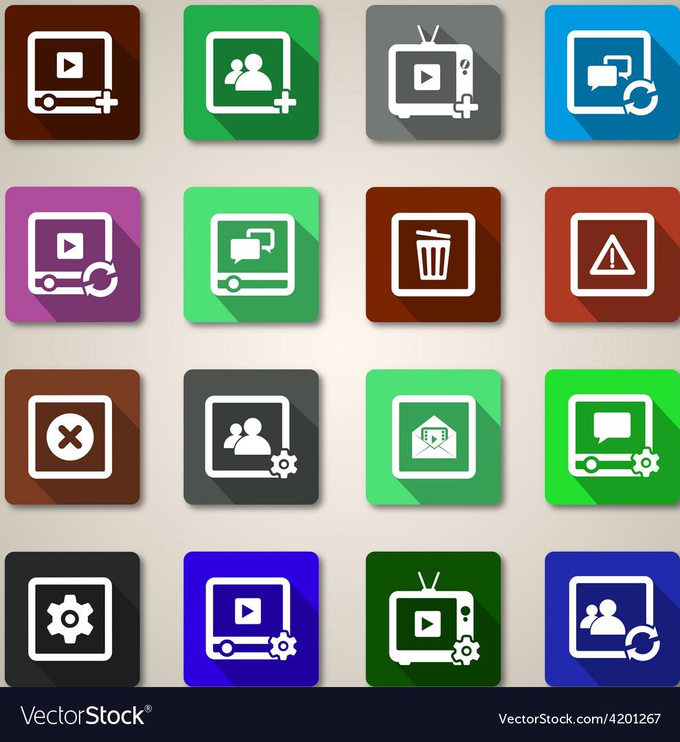 Flat web icons set vector | Price: 1 Credit (USD $1)