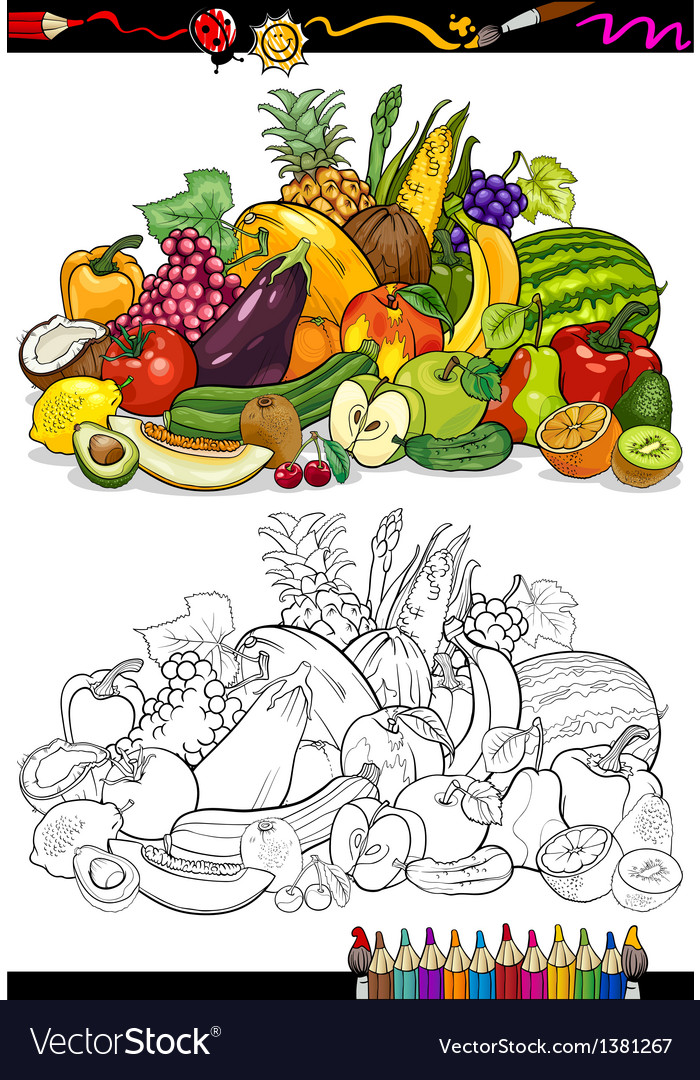 Fruits and vegetables for coloring book vector | Price: 1 Credit (USD $1)