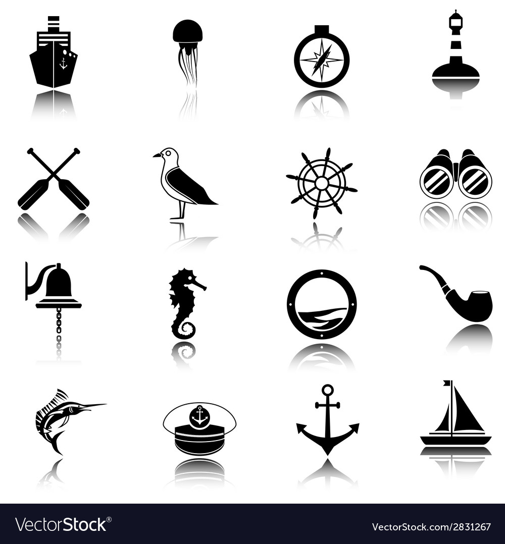 Nautical icons set black vector | Price: 1 Credit (USD $1)