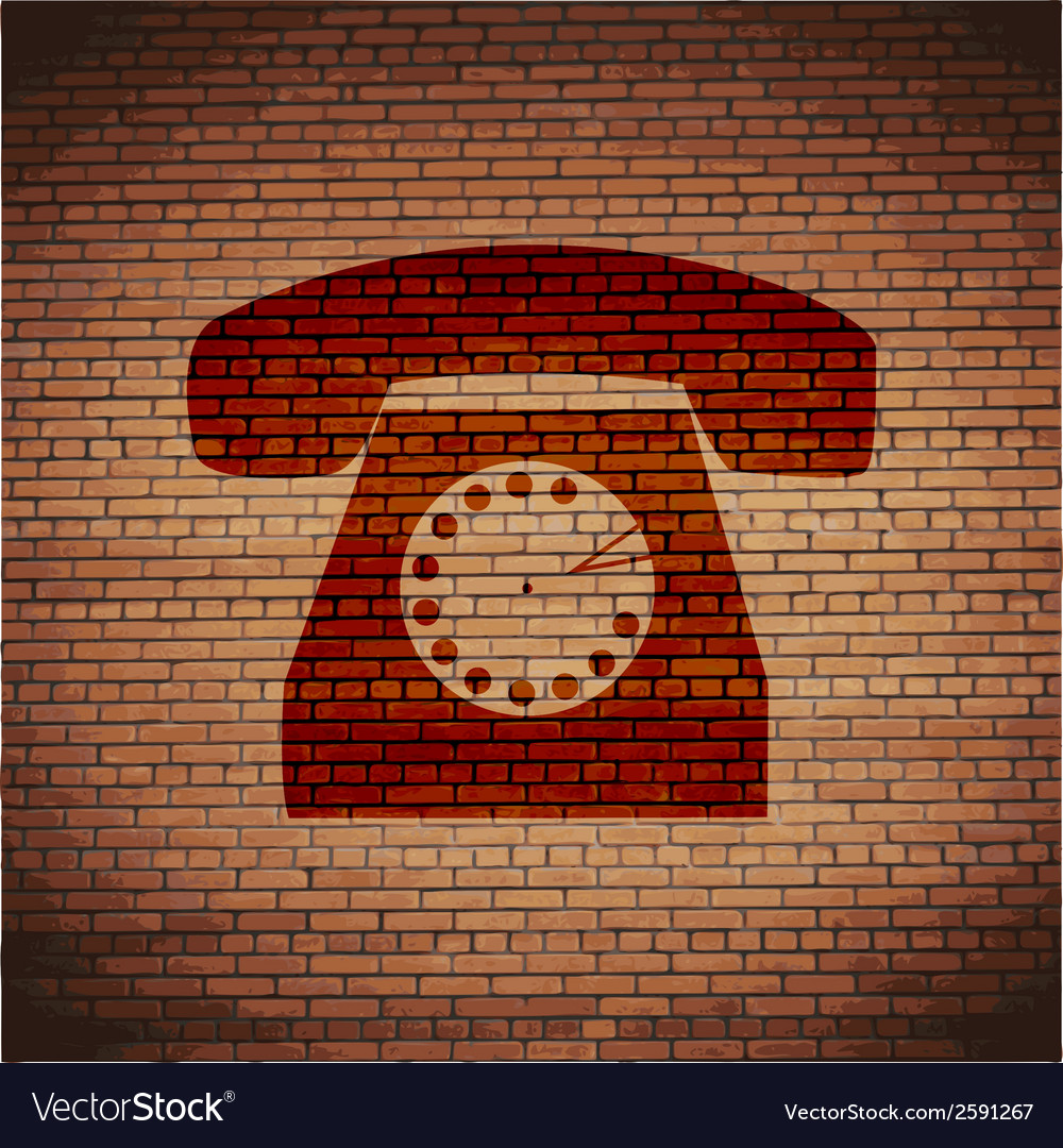 Retro telephone flat modern web button and space vector | Price: 1 Credit (USD $1)