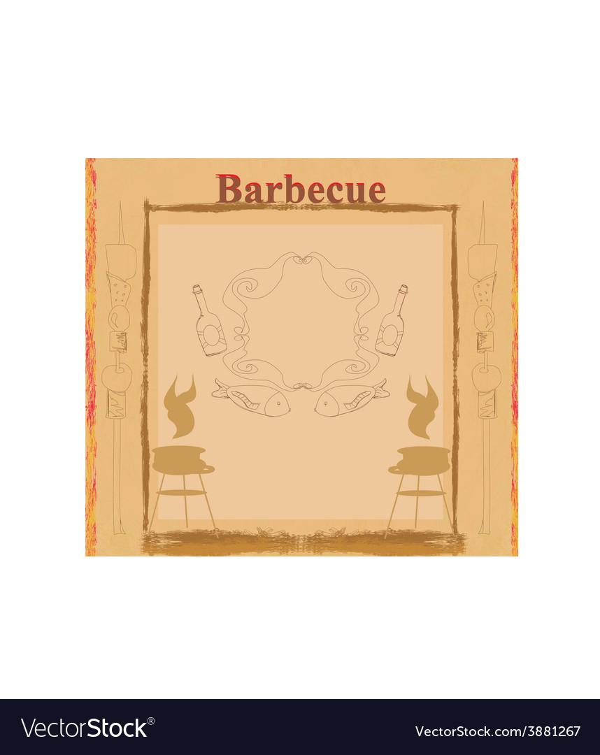 Vintage barbecue party invitation vector | Price: 1 Credit (USD $1)