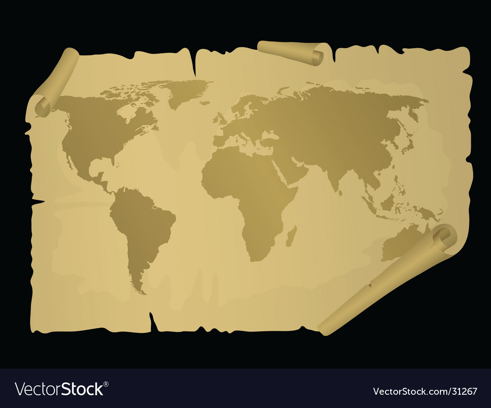 Vintage world map vector | Price: 1 Credit (USD $1)