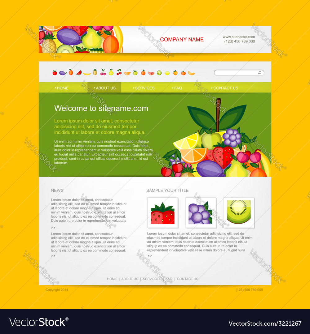 Website design template fruits style vector | Price: 1 Credit (USD $1)