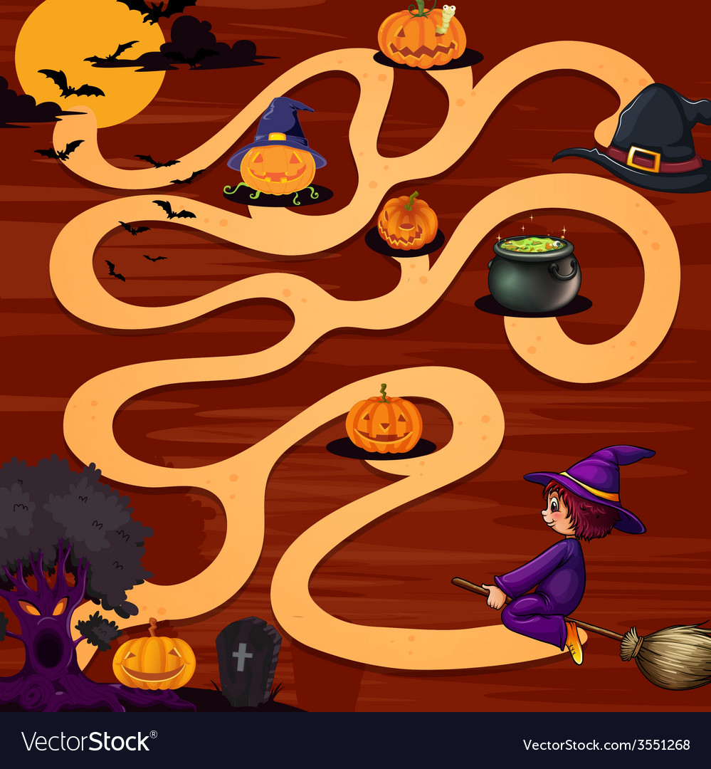 A halloween maze game vector | Price: 1 Credit (USD $1)