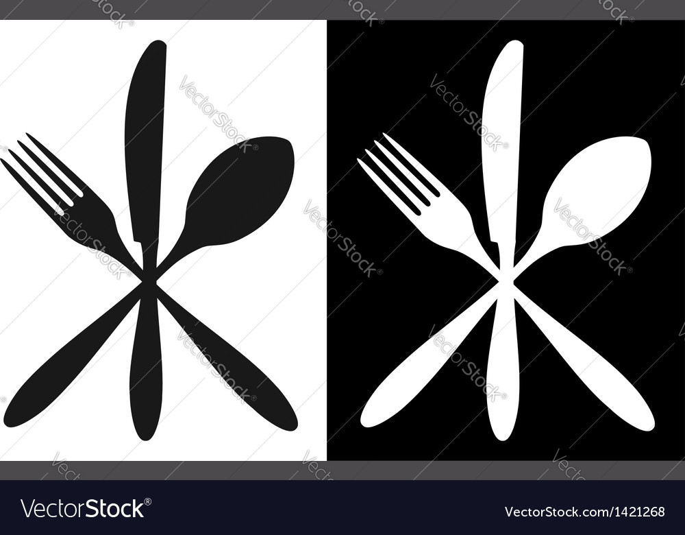 Black and white cutlery icons vector | Price: 1 Credit (USD $1)